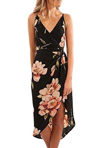 Asvivid Women's Summer Deep V Neck Floral Print Split Wrap Spaghetti Strap Boho Sun Dress S-2XL