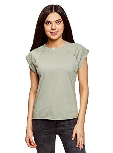 Oodji ultra donna t-shirt basic dritta con orlo grezzo, verde, it 44 / eu 40 / m