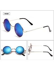 LXKMTYJ Retrò personalizzato Round di occhiali da sole e Prince Edward Road Occhiali da sole viso tondo occhiali occhiali di pilotaggio, Kim Box BLU Film