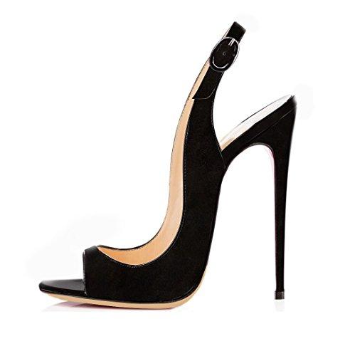 EDEFS Damen Riemchen Abend Sandaletten High Heels Pumps Slingbacks Peep Toes Party Schuhe Bequem,Suede Black EU36 Peep Toe Slingback Schuhe