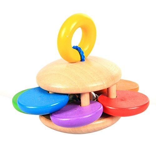 MoGist Holz Hand Glocken Kinder Musikinstrumente Runde Holz Rasseln Handglocken Baby Früherziehung Holz Spielzeug mit Glocken