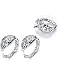 fd1ea55bf10e WINNICACA Pendientes de aro de plata de ley con nudo celta para mujeres y  niñas