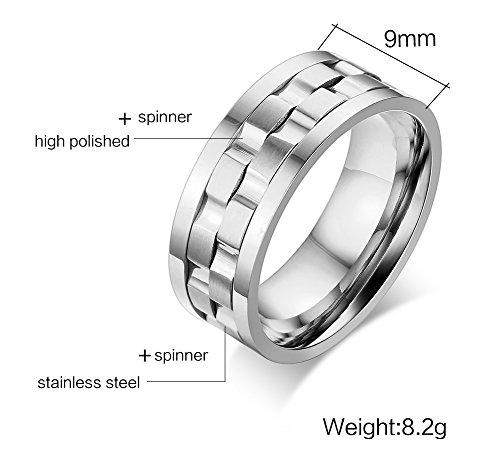 Vnox 9 millimetri Donna Uomo Acciaio Two Tone Spinner Comfort Fit anello della fascia,Argento