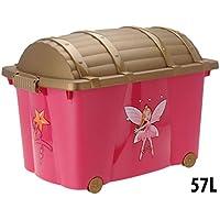 Preisvergleich für Wohlfuehlspezi Multifunktions-Box Schatzkiste Spielzeugkiste Spielbox Roll-Box Spielbox Aufbewahrungsbox Spiel-kiste 60x40x42cm, 57 Liter mit Rädern und Goldener Deckel pink Elfe Fee