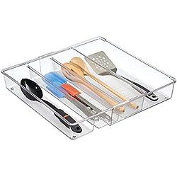 mDesign organiseur de tiroir extensible – le système d'organisation idéal pour la cuisine – bac de rangement de couverts, pour toutes sortes d'ustensiles de cuisine – 4 sections flexibles, transparent