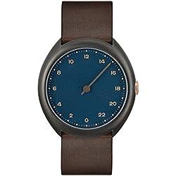 slow O 14 - Dark Brown Vintage Leather, Anthracite Case, Blue Dial Analog Leder Dunkelbraun slow O 14