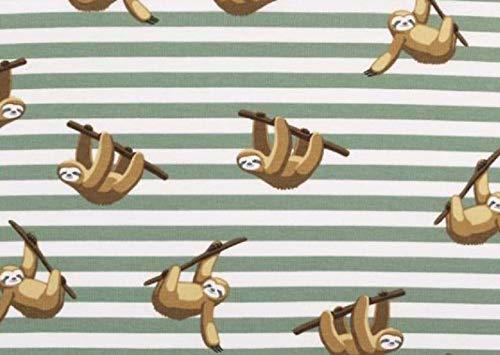 faultier stoff Unbekannt Jersey-Stoff Faultier Grün 150 cm breit Meterware 280g/lfm 94% Baumwolle 6% Elastan
