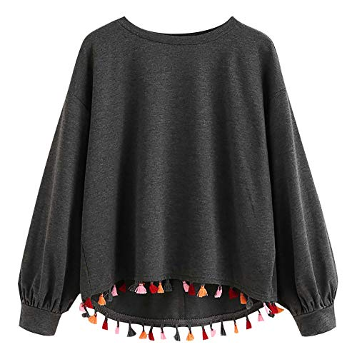 60fddb64ce9 Lazzboy Womens Sweatshirt Hoodie Tops Blouse Long Sleeve Colourful Tassel O  Neck Loose Pure Colour Pullover