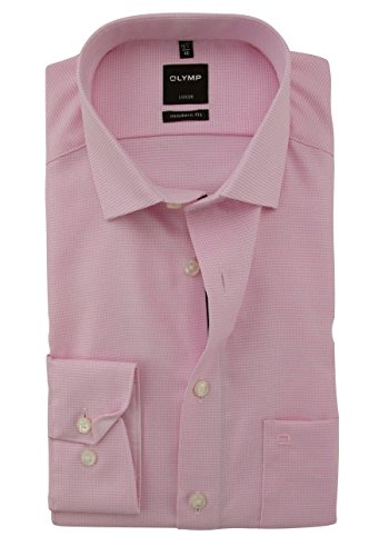 OLYMP Hemd, Rosa Weiß gemustert, Modern Fit, Extra langer Arm 69cm, Bügelfrei, Knitterfrei, 100% Baumwolle, Global Kent Kragen Rosa