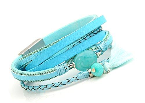 Bluestone Wickelarmband Leder Armband mit großem Stein türkis