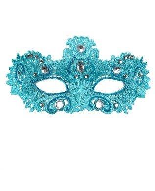 Widmann wid04701-Maske Noblesse in blauem Spitze verziert mit Glitzer und Edelsteine, Türkis, Einheitsgröße