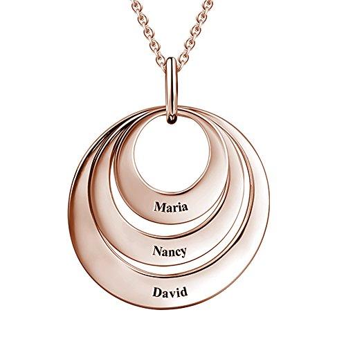 Soufeel Namenskette mit Gravur Personalisierte Engravable 3 Disc Halskette 925 Sterling Silber (Keine Interpunktion und Symbole)
