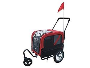 Remorque convertible pour chien Série luxe rouge et noire