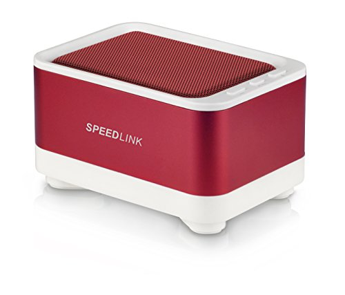 Speedlink Geovis Aktiver kabelloser Bluetooth v3.0-Lautsprecher (2 Watt RMS, 5 Std Akkulaufzeit, roter Aluminiummantel, Freisprechfunktion)