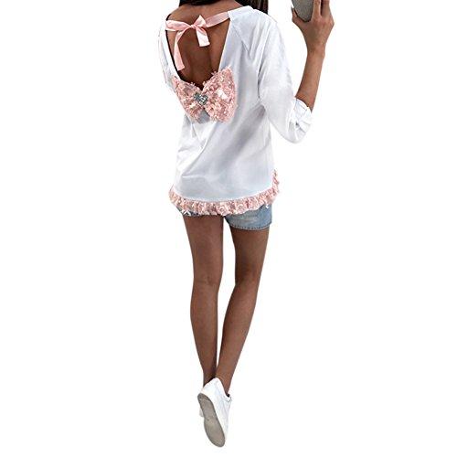 Petalum Damen T-Shirt Herbst Elegant Basic Lang Ärmel Unregelmäßig Schnitt Off Shoulder Spitzen Blumen Rückenfrei Schleife Sweatshirt (Off Schulter Spitze Lange Ärmel)