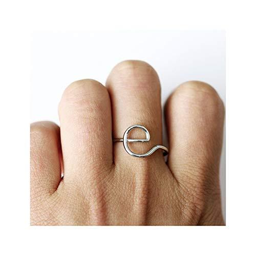 ZQword Unisex Gold Silber Rose-Gold Farbe A-Z 26 Buchstaben Initial Name Ring für Frauen Männer Geometrische Legierung Kreative Fingerringe Schmuck,Gold,B