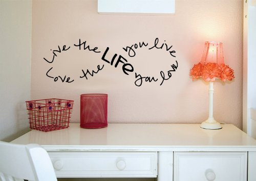 Imprinted Designs Live The Life You Love. Bob Marley Infinity Zitat Vinyl Wand Aufkleber Aufkleber Kunst 12