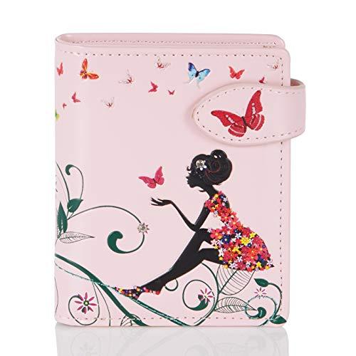 Shagwear Portemonnaie Geldbörse für junge Damen, Mädchen Geldbeutel Portmonaise Designs:, Schmetterling Oase Rosa/ Butterfly Oasis, SM -