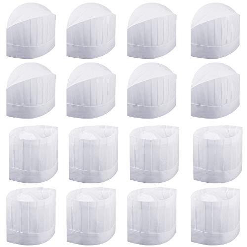 LYTIVAGEN 16 Stück Weiß Kochmütze Einweg Chef Hat aus Vliesstoff Einstellbar Chef Hut Set für Küche, Restaurant, Bäckerei, Kochschule(2 Arten)