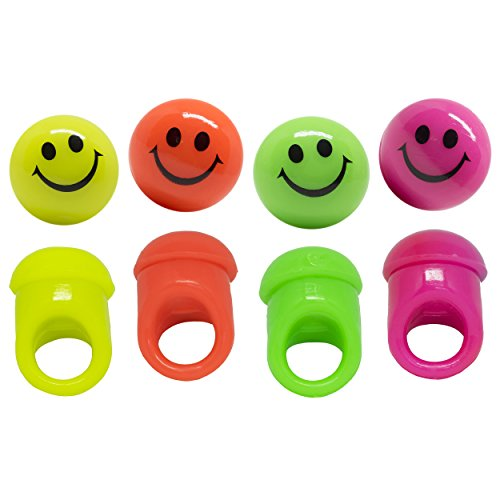 Blinkring 8er Set - Das Original - Smiley-Edition - Blinkende LED Party Ringe (4-Farben-Mix)