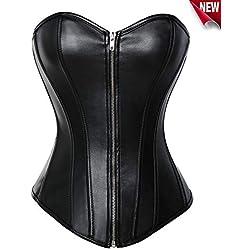 Beauty-You gótico Steampunk Corsé Sintética Sremallera Bustier Plus tamaño juegos de vestir Negro S