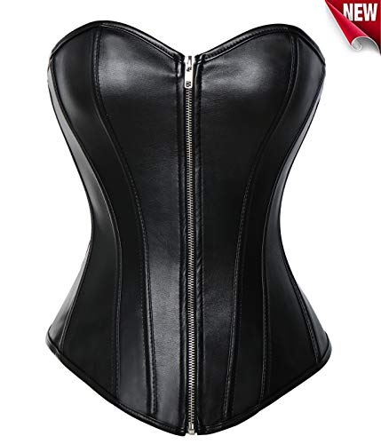 Beauty-you donna sexy corsetto bustino basco lacci finta pelle cerniera plus dimensioni nero xl