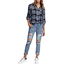 iBaste Jeanshose Damen Skinny Zerrissen Röhrenjeans Damen Hosen Boyfriend  Jeans 1a5253fc6d