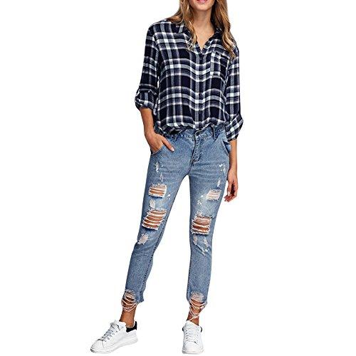 iBaste Jeanshose Damen Skinny Zerrissen Röhrenjeans damen Hosen Boyfriend Jeans-M