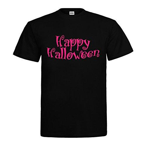 MDMA T-Shirt Happy Halloween Schriftzug N14-mdma-t00735-31 Textil black / Motiv neonpink Gr. S