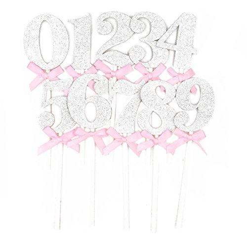 Chytaii Kuchenstecker Tortenstecker Tortendeko Tortenverzierung Cake Topper Zahlen 0-9 für Geburtstag Jubiläum Hochzeitstag 10 Stücke Silber