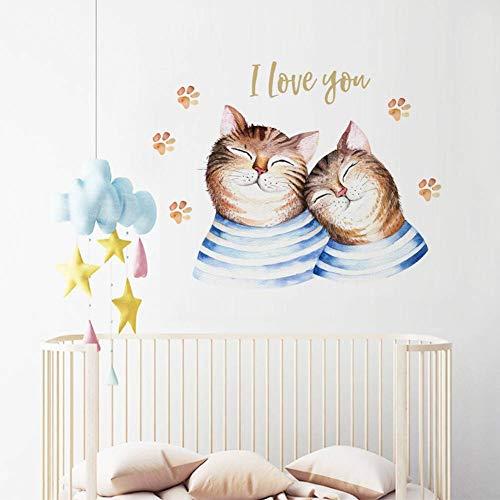 Paar Dress Up Ideen - QWERGLL Wandaufkleber Wandtattoos Cartoon Paar Katze