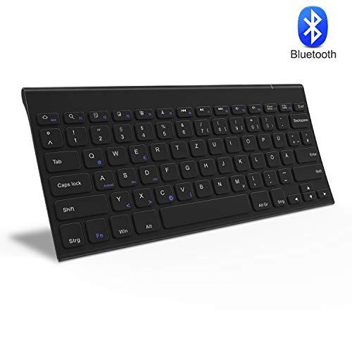 Jelly Comb Bluetooth Kabellose Tastatur für Laptop, PC und Tablets, Deutsches Layout QWERTZ, Schwarz