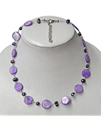 Chic-Net chain ladies necklace purple beaded mother of pearl shell plate 42-48cm carabiner nickel free