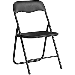 CLP Chaise de Cuisine Pliable Felix - Chaise Visiteur Repliable Pieds en Métal - Chaise Salle de Conférrence Confortable et Pratique - Couleur: Noir/Noir