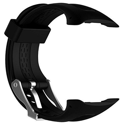 Correa de reloj de repuesto con hebilla ajustable y correa de silicona deportiva de liberación rápida para Garmin Forerunner 10 15 GPS reloj de correr pequeño grande con herramientas, color negro