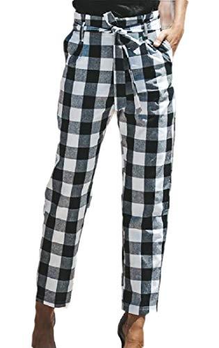 dahuo Damen Hose Casual Cropped Pants Plaid High Waist Papier Bag Pants mit Taschen Gr. XS, Schwarz Plaid Cropped Pants