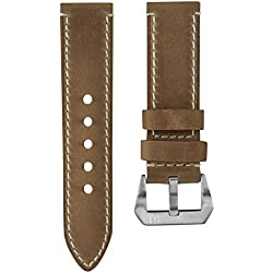 Uhrenarmband StrapJunkie Echtes Leder Vintage Design Braun 24mm