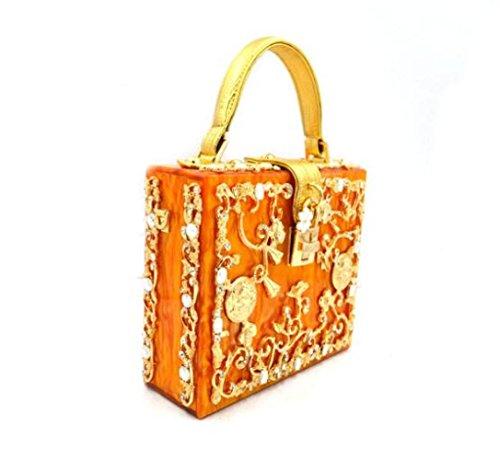 WenL Fashion High Quality Abendtasche Geschnitzt Damen Handtasche,Orange (Quadrat Leder Cocktail)