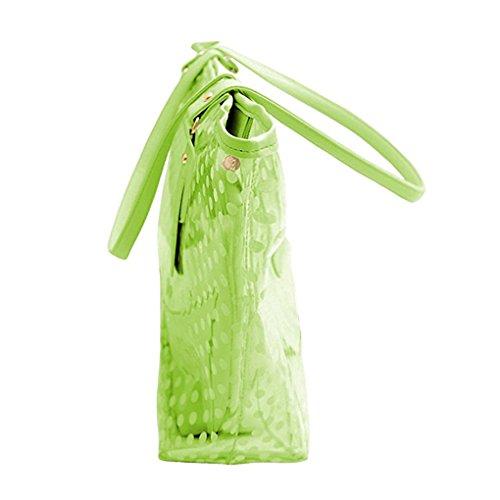 Wasserdichte Strandtasche - SODIAL(R) Damen Punkte Muster Transparent Reissverschluss Panel Design Tragetasche mit Tasche - Blau, Einheitsgroesse Gruen