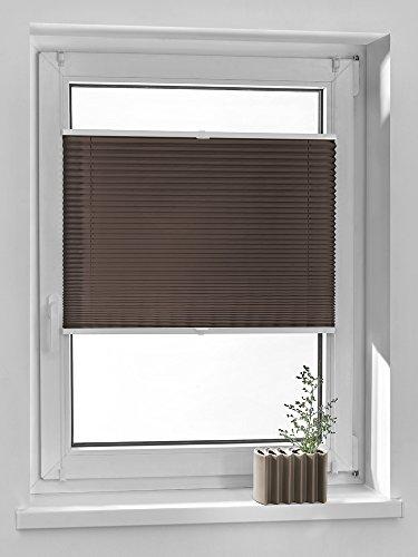 Breites 69 Jalousien Fenster (Vidella Plissee comfortino blickdicht Fenstermontage türhoch 69 cm, braun, PC-4 69b)