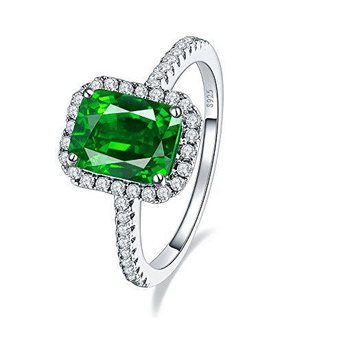 JQUEEN 3.6ct Emerald Engagement Wedding Ring Solid 925 Sterling Silver Ring Square Cut Amazing For Women