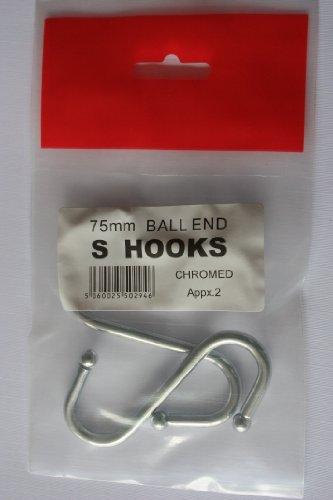 DIY, 2 crochets à boule Chromé S, 75 mm (7,5 cms/7,6 cm) environ