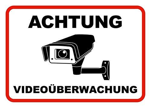 Hochwertige Achtung Videoüberwachung Aufkleber - 3 Stück - Videoüberwacht Schild selbstklebend (Kameraüberwachung - Überwachungskamera) - Warnschild Alarmanlage/Alarmgesichert