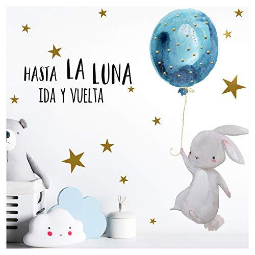 oo Babyzimmer Hase & Spruch Hasta La Luna I A4-21 x 29,7 cm I Luftballon Rosa Kinderbilder Deko Kinderzimmer Mädchen Aufkleber Sticker DL256 ()