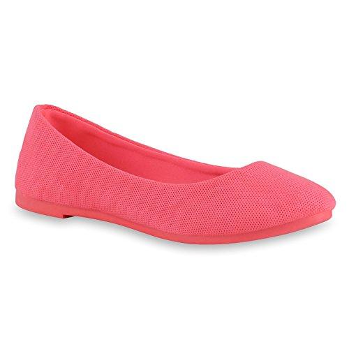 Damen Ballerinas Lack Slipper Schuhe Flats Lederoptik Neonpink Full