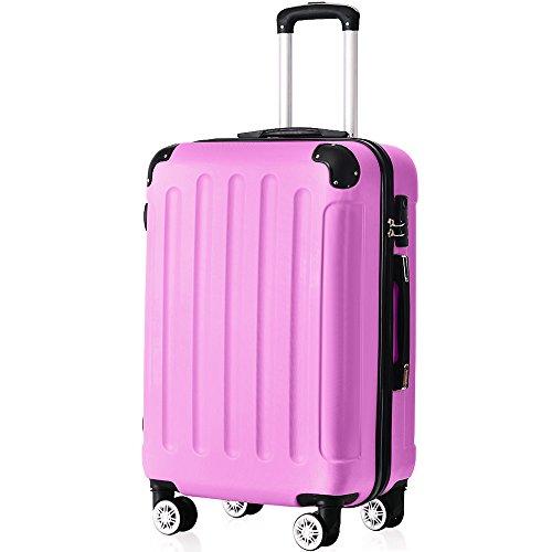 Flieks ReiseKoffer Hartschale Trolley Koffer Gepäck-Sets mit 4 Doppel-Rollen, Set-XL-L-M (Pink, XL(Großer Koffer))