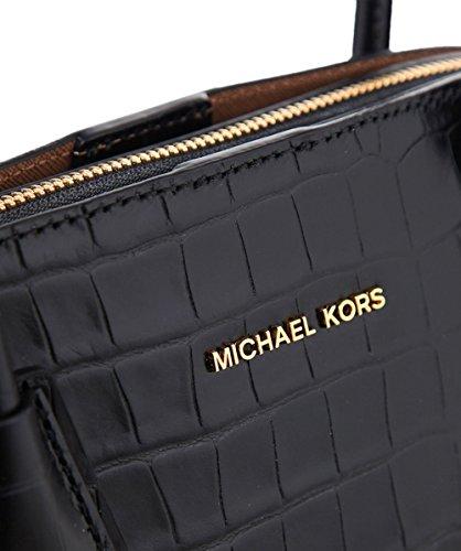 MICHAEL Michael Kors Da Donna borsa di pelle goffrata croco cupola Nero Nero