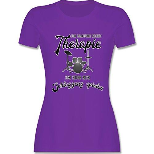 Instrumente - Ich brauche keine Therapie ich muss nur Schlagzeug spielen - tailliertes Premium T-Shirt mit Rundhalsausschnitt für Damen Lila