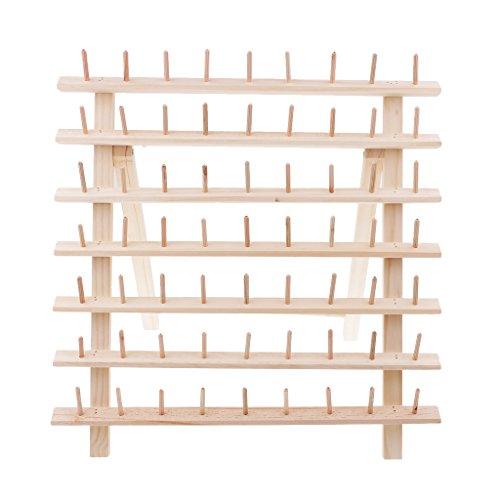 D DOLITY Spulenhalter Garnrollenhalter Garnaufbewahrung Nähaufbewahrung Spulen Holz Halter Ständer für 63 Spulen