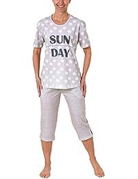 54caac427e3fe7 Normann Copenhagen Lässiger Damen Capri Pyjama kurzarm - auch in Übergrössen  bis Gr. 60/